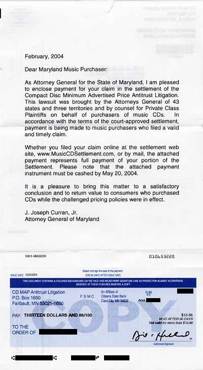 CDMAP settlement cheque
